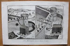 Militaria - Festuung, Belagerung - Rammböcke - Kupferstich ( Diderot ) um 1750