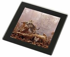 Kitten and Leopard Watch Black Rim Glass Coaster Animal Breed Gift, AC-77GC