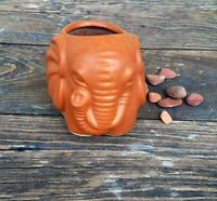 SMALL ELEPHANT BAMBOO PLANTER, TERRACOTTA COLOR BURNT RED CERAMIC POTTERY
