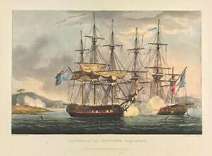 Maritime Battle Capture of La Chiffonne 1805 Original Aquatint print for Jenkins