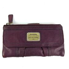 Fossil Wallet Purple Emory Long Live Vintage Distressed Plum Lamb Leather