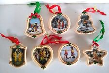 Danbury Mint M J Hummel Christmas Ornaments Lot Of 7 Star Heart Bell Tree Circle