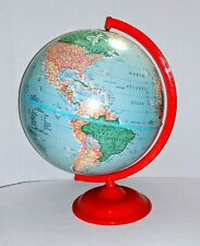 "Vintage The Classica 12"" World Globe with Red Metal Base George F Cram Company"