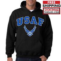 AIR FORCE USAF BLACK HOODIE Hooded Sweatshirt U.S Pullover Wings USAF Airforce