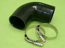 Burstflow Silikon Schlauch Bogen 90 Grad 63mm schwarz u 2 Schellen silicone hose