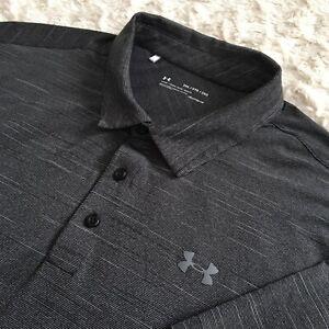 EUC* Under Armour UA Loose HeatGear Men's Golf Polo Shirt 2XL Short Sleeves Gray