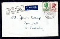 Australia 1953 Airmail Cover to UK 'Underpaid For Aerial Service' Cachet WS18093