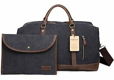 EverVanz Oversized Travel Duffel Canvas Leather Trim Tote shoulder handbag Weeke