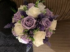 Wedding Flowers Med Posy Bouquet White & Iced Lilac With Lilys,Purple Gyp £19.99