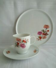 BAVARIA CHINA - SET OF FOUR DESSERT PLATES, CUPS AND SAUCERS - FLORAL DESIGN