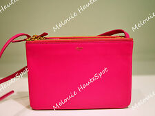 CELINE TRIO FUCHSIA PINK ZIPPED POUCH GOLD HW SHOULDER CROSSBODY BAG CLUTCH NEW