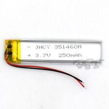 250mAh 3.7V 351460 LiPo Cell Rechargeable Battery Lipolymer For DVD GPS Speaker