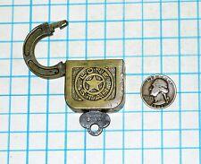 Vtg Antique Old LONE STAR Slaymaker Barry Lock Co Brass Lonestar Padlock and Key