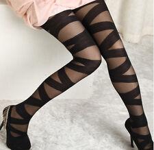 Sexy Lady Stretch Women Bandage Cross Strap Mesh Pants Tight Leggings Black New
