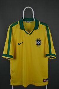 RARE BRAZIL NATIONAL TEAM 1997 HOME FOOTBALL SHIRT NIKE JERSEY VINTAGE SIZE L