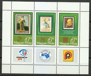 Hungary 1984 MNH Mi Block 171A Sc 2842 a-c Stamps exhibitions.Stamp on stamp **