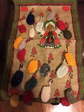 Vintage Christmas 24 Day Hanging Burlap Jute  Advent Calendar Colorful