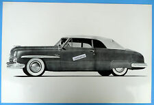 """12 By 18"""" Black & White Picture 1951 Lincoln Convertible top Up Side View"""