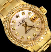 Rolex Ladies Datejust President Oyster 18K Gold Diamond Dial Bezel Watch