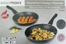 Bratmaxx Aluminium Design Pfannen 2er Set 24cm /& 28cm marmor Optik Neu