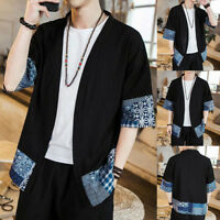 Men Casual Short Ethnic Sleeve Kimono Japanese Style Front Open Coat Jacket