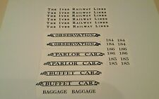 IVES PRE-WAR STANDARD SCALE 184-185-186 BLACK WATERSLIDE DECAL W/SERIF LOOK!