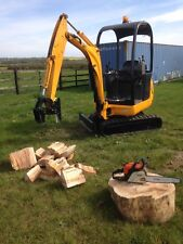 mini digger log splitter / hydraulic log splitter / jcb 8014 / grab **PLUS VAT**