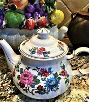 Vintage Sadler Made in England Teapot Floral Design w/ Gold Trim MINT