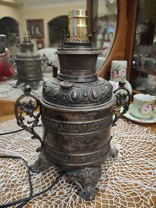 "Antique B&H Bradley & Hubbard Parlor Oil Lamp 11"" Vintage"