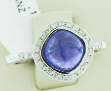 18K Handcrafted White Gold Ring Natural Blue 2.29 TCW Tanzanite Cabochon Stone