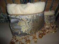 Croscill Blue Cream Scroll Fringed Decorative (2Pc) Bath & Fingertip Towels