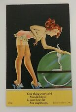 Vintage 1940's Risque Rare Postcard Sexy Lady  Slippers Garter Teddy C T Florida