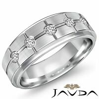 Round 5 Stone Diamond Men Half Wedding Band 14k White Gold 8mm Solid Ring 0.25Ct