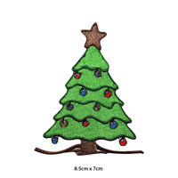 Christmas Tree Xmas Embroidered Patch Iron on Sew On Badge For Clothes etc