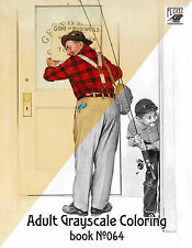 Adult Coloring Book (24 pages) Fishing w Dad Norman Rockwell FLONZ grayscale 064