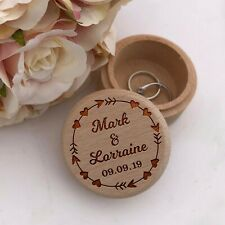 Personalised Ring Box Wooden Wedding Bride & Groom Date - Proposal Mr & Mrs