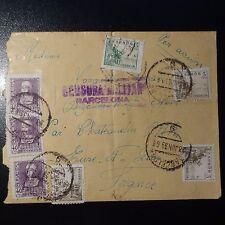 ESPAGNE LETTRE CENSURE MILITAIRE CENSOR COVER CAD BARCELONE 1939 - CHATEAUDUN