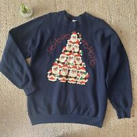 VTG Ho Ho Ho Santa Claus Graphic Sweatshirt Ugly Xmas Adult Large 50/50