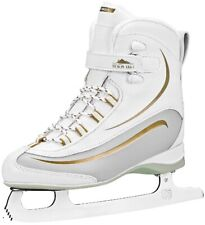 Lake Placid Everest Women's Soft Boot Figure Ice Skate, White/Gold, Size 5