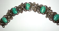 Antique Vintage Brass Snake Serpent Green Dragons Eggs Peking Glass Bracelet 20s