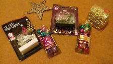 6 PIECE CHRISTMAS JOB LOT, BEADS, STAR, LIGHTS AND BAUBLES