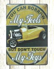 US SELLER- My Tools My Toys garage car tin metal sign old reproductions for sale