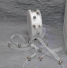 2m Perlenband (0,60 €/m) Organzaband Perlen Hochzeit weiß silber Perlengirlande