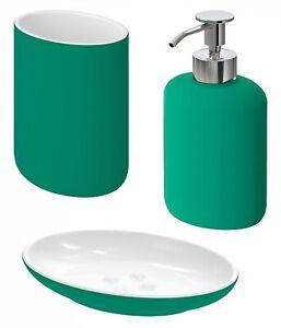 Ikea EKOLN Bathroom Set, Toothbrush Holder, Soap Dish, Soap Dispenser [Green]