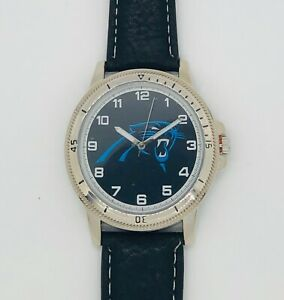 CAROLINA PANTHERS CLASSIC MEN'S SPORT WATCH LEATHER BAND OFFICIALLY LICENSED NEW