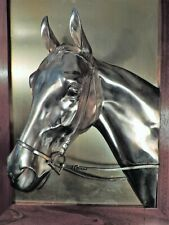 BAS-RELIEF LARGE METAL FRAMED HORSE'S HEAD WALL SCULPTURE