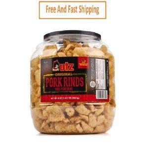 Utz Pork Rinds, Regular, Barrel 18 oz, FREE SHIPPING