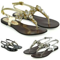 Womens Sparkly Diamante Slingback Sandals Ladies Flat Summer Holidays Shoes Size
