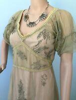 Womens Romantic Nataya Age of Love Mesh Dress 2 Piece Green Vintage Flair S