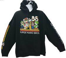 Nintendo Super Mario Bros Hoodie 2XL Black Long Sleeve Spellout Big Graphic